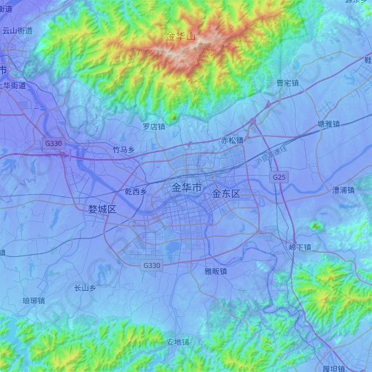 Jinhua topographic map, relief map, elevations map