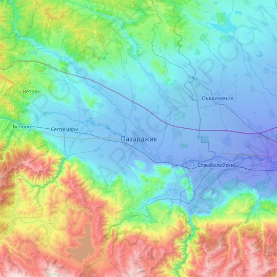 Pazardzhik topographic map, relief map, elevations map