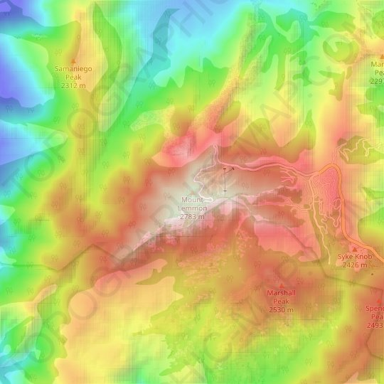 Mount Lemmon topographic map, relief map, elevations map