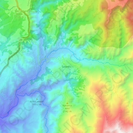 Salento topographic map, relief map, elevations map