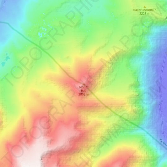 Mount Rae topographic map, relief map, elevations map