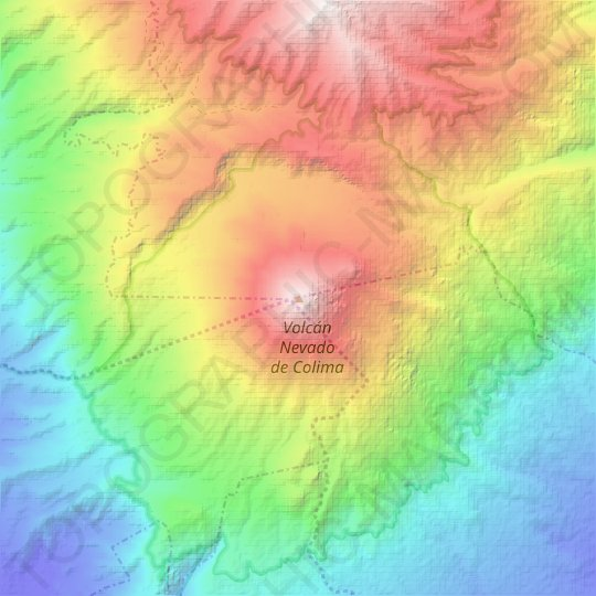 Colima Volcano topographic map, relief map, elevations map