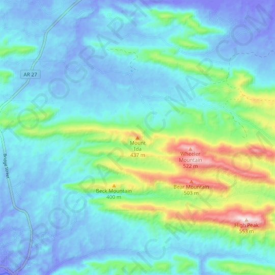 Mount Ida topographic map, relief map, elevations map