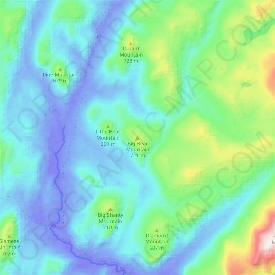 Big Bear Mountain topographic map, relief map, elevations map