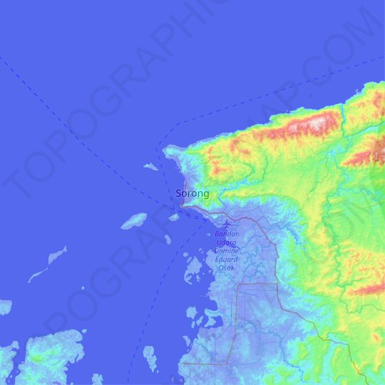 Sorong topographic map, relief map, elevations map