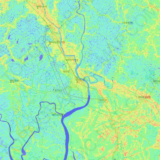Khulna topographic map, relief map, elevations map