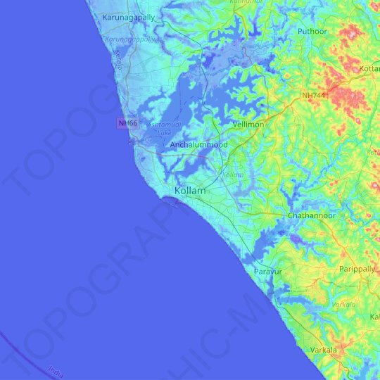 Kollam topographic map, relief map, elevations map