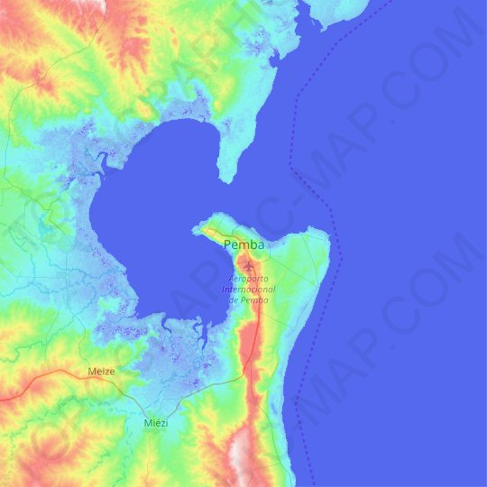 Pemba topographic map, relief map, elevations map