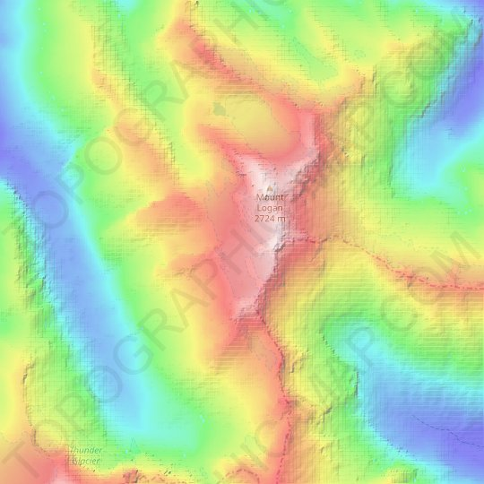 Fremont Glacier topographic map, relief map, elevations map