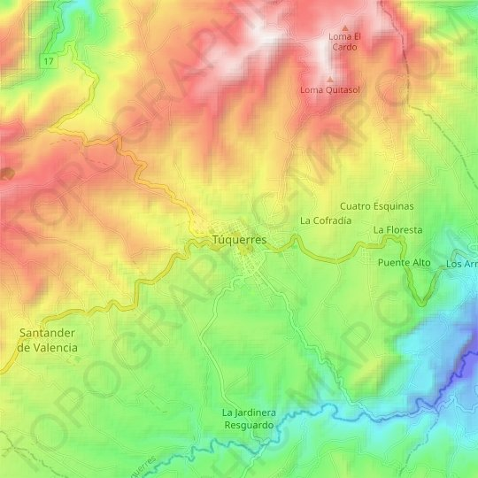 Túquerres topographic map, relief map, elevations map