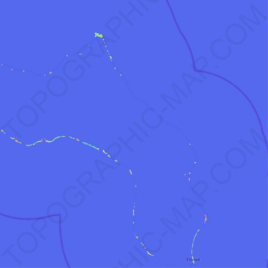 Kwajalein Atoll topographic map, relief map, elevations map