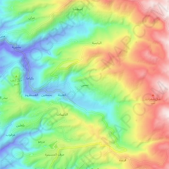 Bissin topographic map, relief map, elevations map
