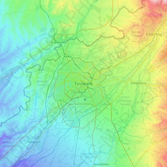Tashkent topographic map, relief map, elevations map