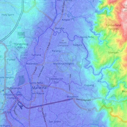 Marikina Heights topographic map, relief map, elevations map