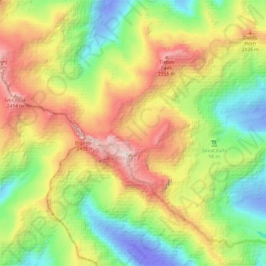 Conrad Glacier topographic map, relief map, elevations map