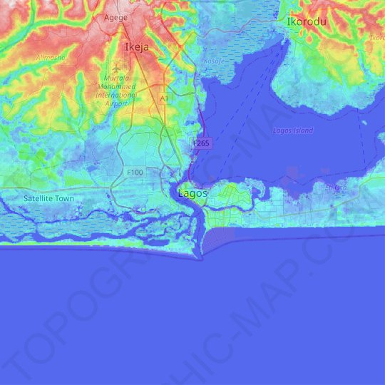 Lagos topographic map, relief map, elevations map