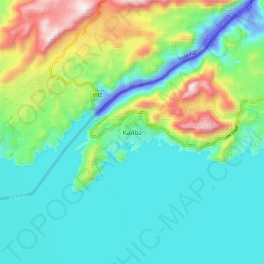 Kariba topographic map, relief map, elevations map