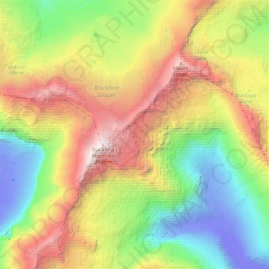 Pumpkin Glacier topographic map, relief map, elevations map