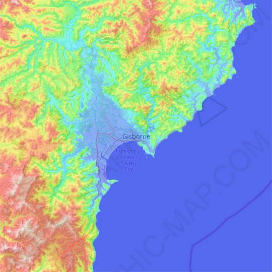Gisborne topographic map, relief map, elevations map