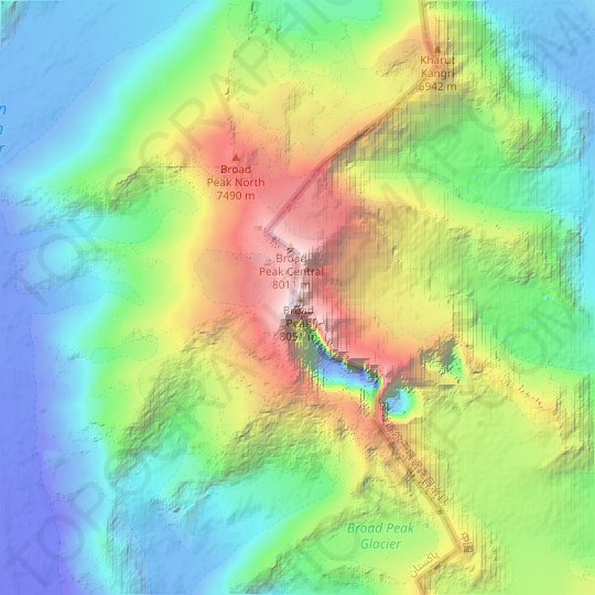 Broad Peak topographic map, relief map, elevations map