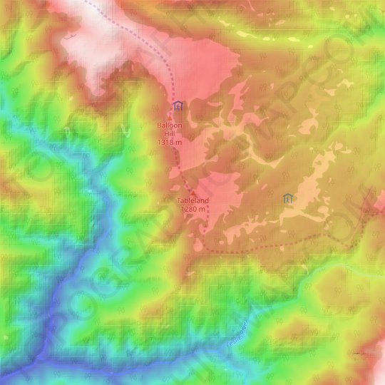 Tableland topographic map, relief map, elevations map