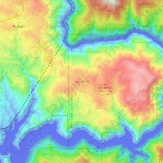 Big Bend topographic map, relief map, elevations map