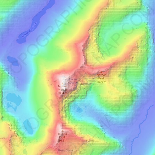 Old Sun Glacier topographic map, relief map, elevations map