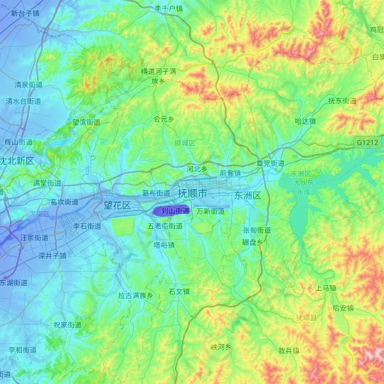 Fushun topographic map, relief map, elevations map