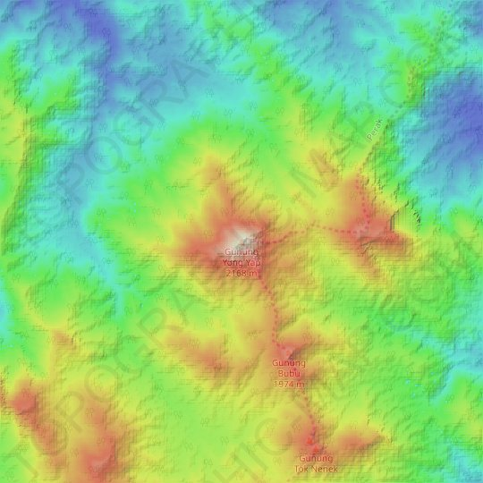 Gunung Yong Yap topographic map, elevation, relief