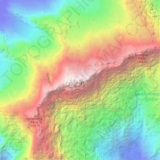 Annapurna I topographic map, relief map, elevations map