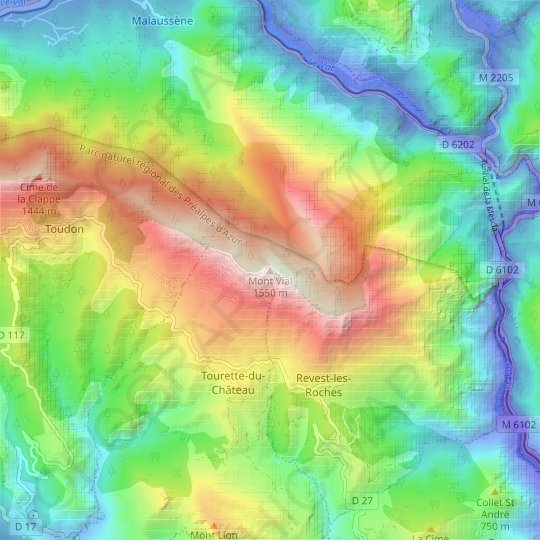 Mont Vial topographic map, relief map, elevations map