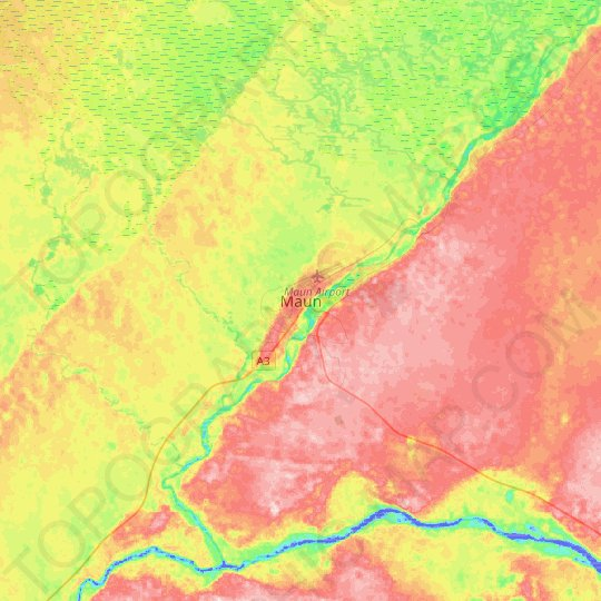 Maun topographic map, relief map, elevations map