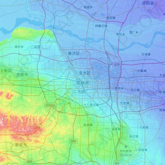 Zhengzhou topographic map, relief map, elevations map