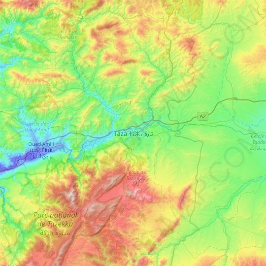 Taza topographic map, relief map, elevations map