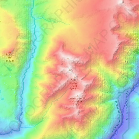 Twilight Peak topographic map, relief map, elevations map