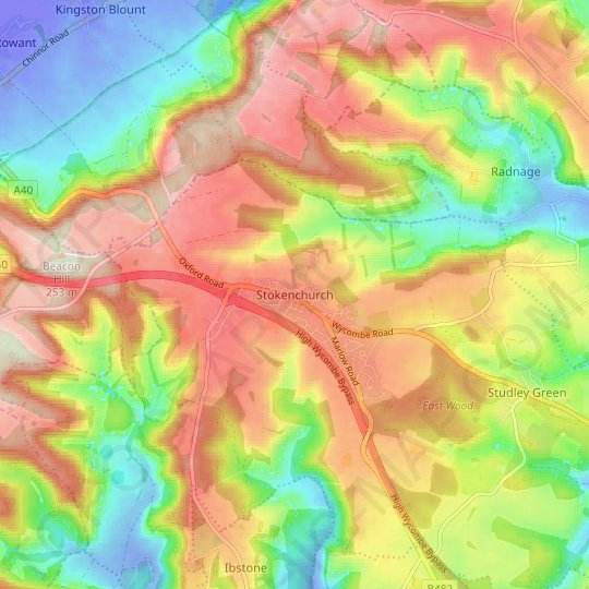 Stokenchurch topographic map, relief map, elevations map