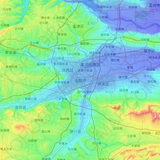 Luoyang topographic map, relief map, elevations map