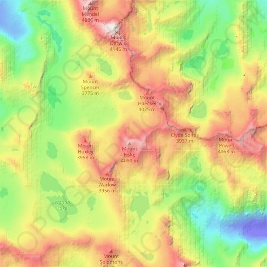 Mount Fiske Glacier topographic map, relief map, elevations map
