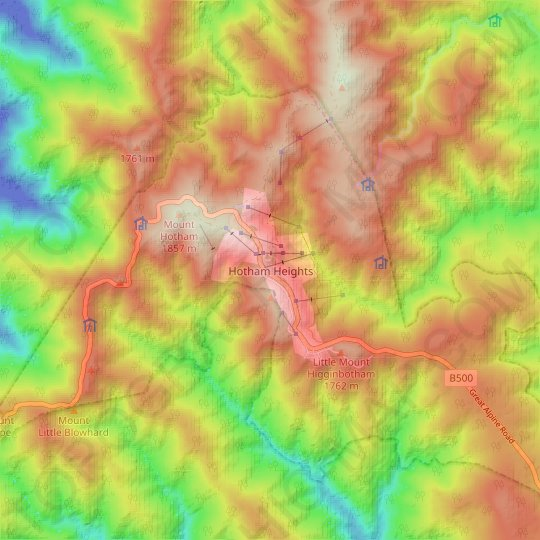Hotham Heights topographic map, relief map, elevations map