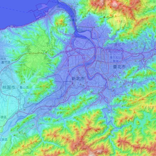 New Taipei topographic map, relief map, elevations map