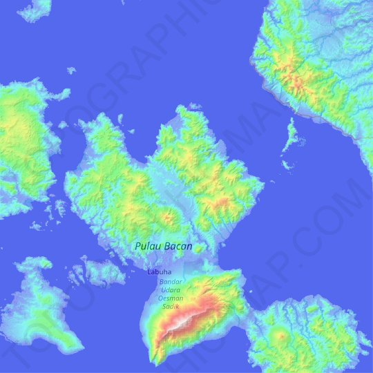 Bacan Island topographic map, relief map, elevations map