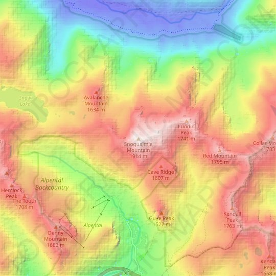 Snoqualmie Mountain topographic map, relief map, elevations map
