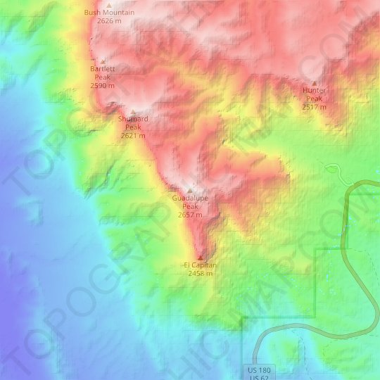 Guadalupe Peak topographic map, relief map, elevations map