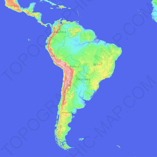 South America topographic map, elevation, relief