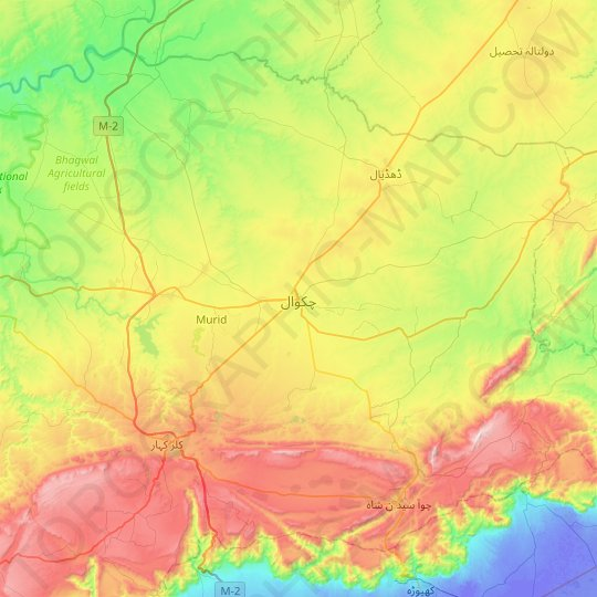 Chakwal topographic map, relief map, elevations map