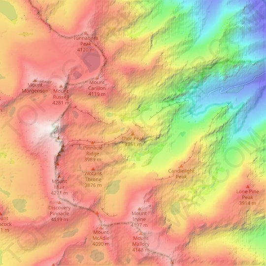 Thor Peak topographic map, relief map, elevations map