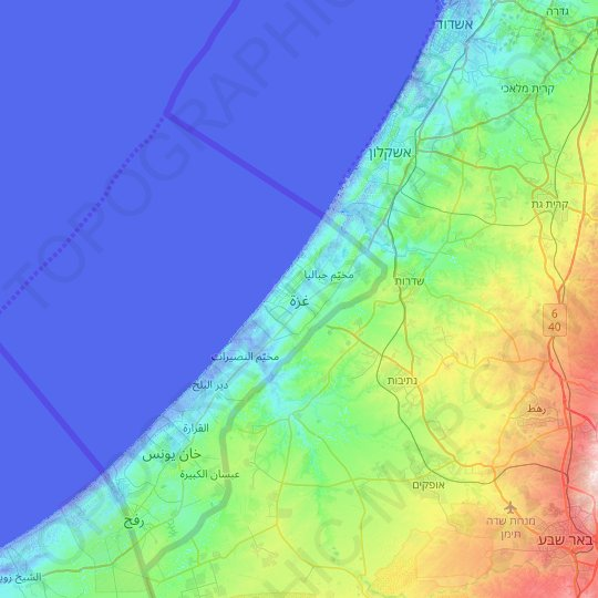 Gaza topographic map, elevation, relief