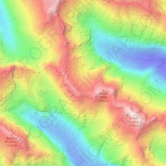 Wyeth Glacier topographic map, relief map, elevations map
