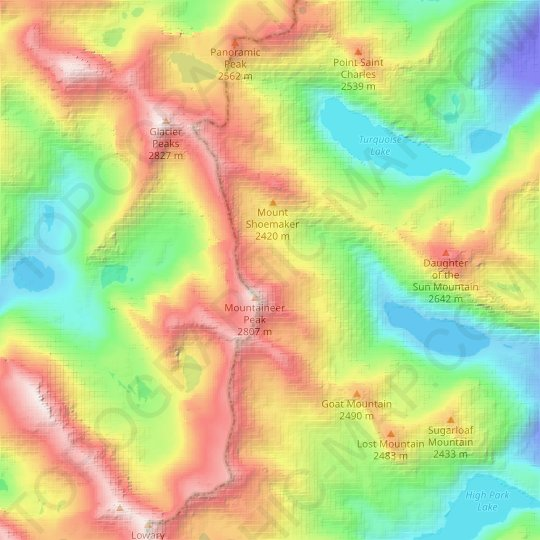 Mountaineer Glacier topographic map, relief map, elevations map