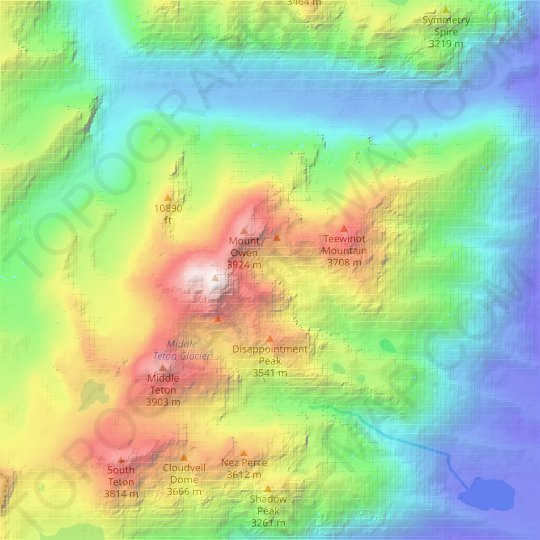 Teton Glacier topographic map, relief map, elevations map
